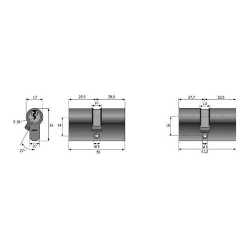 Profildoppelzylinder C 73 NuG beidseitig, Anzahl Schlüssel 3, verschieden schließend ABUS