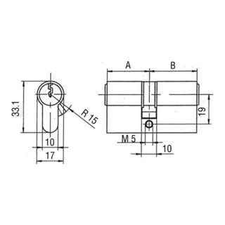 3 verschieden schließend BKS Doppelzylinder PZ 8800 40//45mm NuG nein Schlüssel
