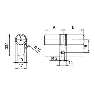 Profildoppelzylinder PZ 8812 40/40mm Anz.Schlü.3 gl.BKS