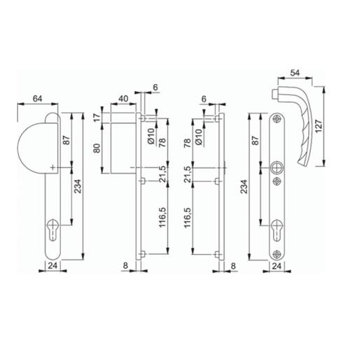 Profiltür-Garnitur NY 554/303N/1810 Alu.F1 PZ f.TS 57-62mm