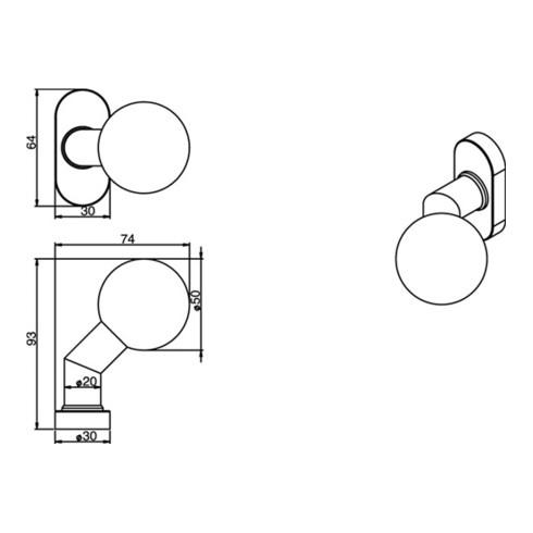 Profiltür-Knopf Edelstahl 304 Aufnahme M6 gekröpft