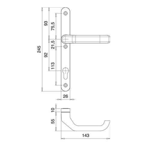 Profiltürgarnitur Atlas 1200/K2/2026 Alu.F1 PZ f.TS 68-73mm EDI