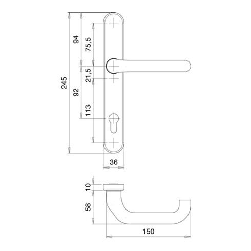 Profiltürgarnitur Kronos 1300/K2/035 Alu.F1 PZ EDI