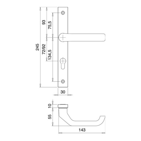 Profiltürgarnitur PAN 1200/9203 Alu.F1 PZ f.TS 68-75mm EDI