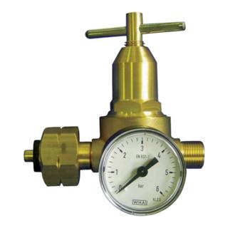 Propankleindruckregler m.Manometer 0,5-6bar 18 kg/hW 21,8x1/14Zoll LH KAYSER