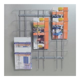 Prospekthalter 15 Fächer DIN A4 f.Wandbefestigung H780xB710xT75mm Draht silber