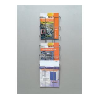 Prospekthalter 6 Fächer DIN A4 f.Wandbefestigung H774xB235xT75mm Draht silber