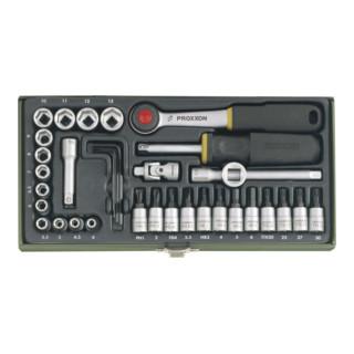Proxxon Feinmechaniker-Steckschlüsselsatz 23080 mit 1/4''-Ratsche, 36-teilig