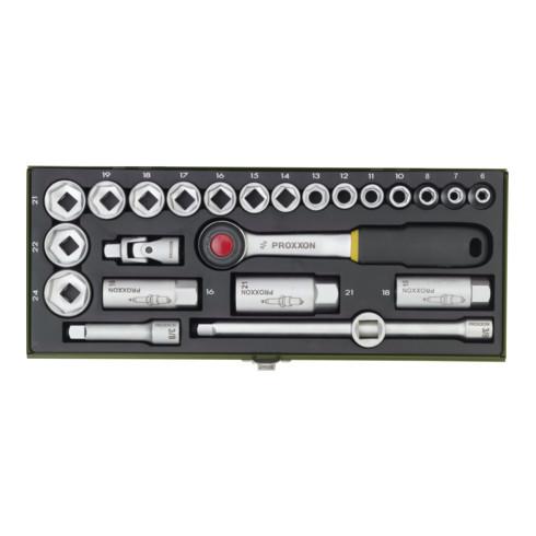 Proxxon Steckschlüsselsatz CV. 6-24PR, Vierkant, 24-teilig, 3/8 mit Driver-System''