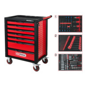 RACINGline Servante d'atelier NOIR/ROUGE avec 7 tiroirs et 215 outils d'excellente qualité