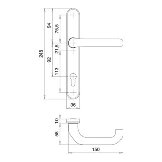 Rahmen-1/2 Innen-Garnitur Kronos 1300/0235 Alu.F1 PZ EDI