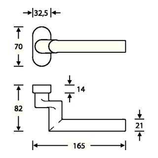 Rahmentürdrücker 06 1076 VA 6204 gekr. 4-KT. 8mm FSB