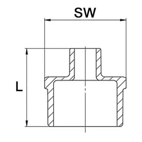 Reduzierdoppelnippel EN 10226-1 NPS=2 Zoll NPS2 1 1/2 Zoll 8-kant 54,5mm