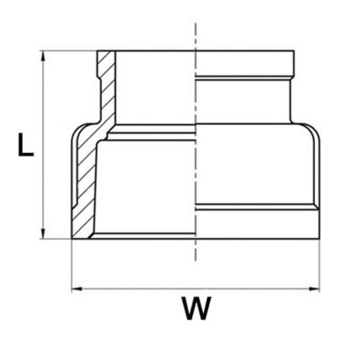 Reduziermuffe EN 10226-1 NPS 3/4 Zoll NPS2 1/2 Zoll DN 20mm SPRINGER