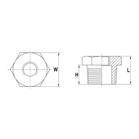 Reduzierstück NPS=2 Zoll NPS2 1 1/2 Zoll 8-kant L 32,5mm SPRINGER