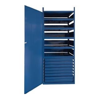 Regalelement Schrank m. Tür LOGS 145 H1820xB540xT390mm Blau RAL 5022 8 Schubl.