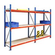 Regalwerk EMMA-Weitspannregal Holzeinlage Grundfeld HxBxT 3000x2700x800 mm Rahmen RAL 5010