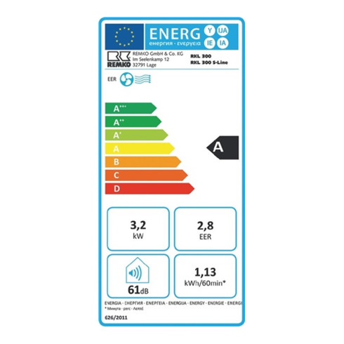 Remko Raumklimagerät 3,2 kW max.2,0 l/h 90 m³