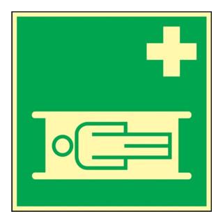Rettungszeichen ASR A1.3/BGV A8/DIN 67510 L148xB148mm Krankentrage Folie