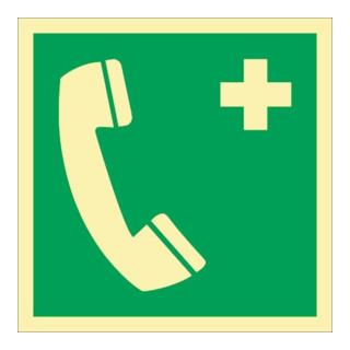 Rettungszeichen ASR A1.3/DIN EN ISO 7010/DIN 67510 L148xB148mm Nottelefon Folie