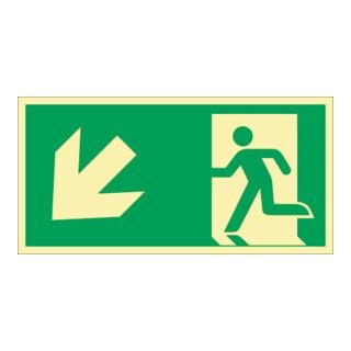 Rettungszeichen ASR A1.3/DIN EN ISO 7010/DIN 67510 Rettungsweg li. abwärts Folie