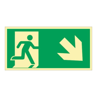 Rettungszeichen ASR A1.3/DIN EN ISO 7010/DIN 67510 Rettungsweg re. abwärts Folie