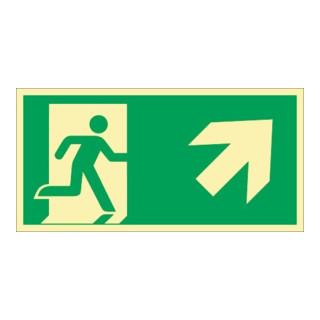 Rettungszeichen ASR A1.3/DIN EN ISO 7010/DIN 67510 Rettungsweg re.aufwärts Folie