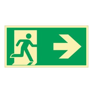 Rettungszeichen DIN EN ISO 7010 L297xB148mm Rettungsweg re.Folie