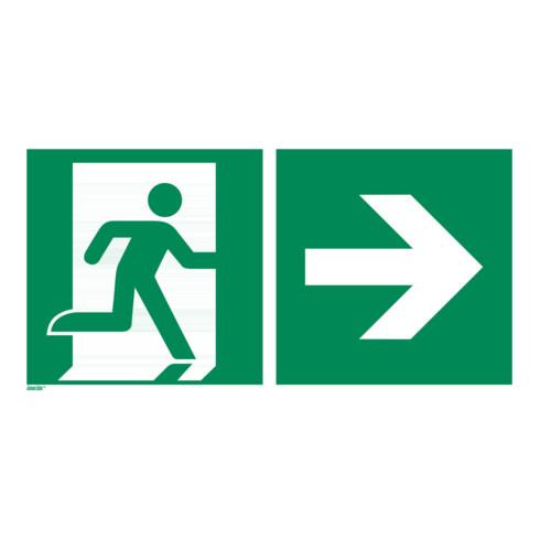 Rettungszeichen Rettungsweg rechts, Typ: 12300