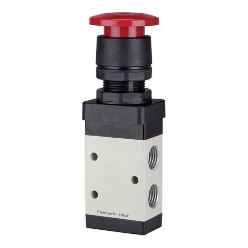 RIEGLER 3/2-Wegeventil manuell M3 Pilztaster NC monostabil G 1/8 rot