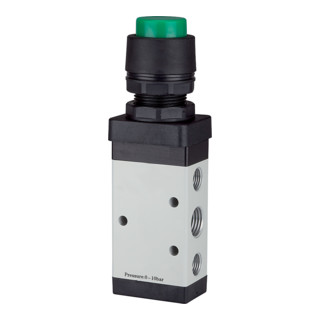 RIEGLER 5/2-Wegeventil manuell M5 Druckknopf monostabil G 1/4 grün