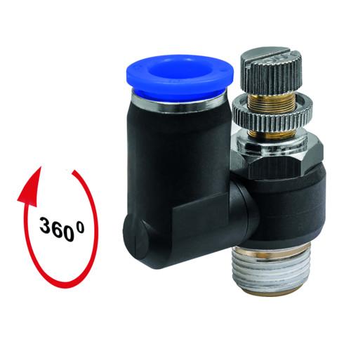 RIEGLER Drosselrückschlagven Blaue Serie, Zuluftdros., M5 a. 10bar Ø4mm