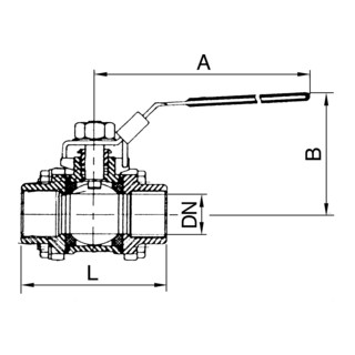 RIEGLER Edelstahlkugelhahn, 3-teilig, Baulänge nach DIN 3202-M3, G 2