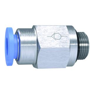 RIEGLER Gerades Rückschlagventil Blaue Serie Schlauch-Gewinde, G 1/8 a Ø 8 mm 33mm