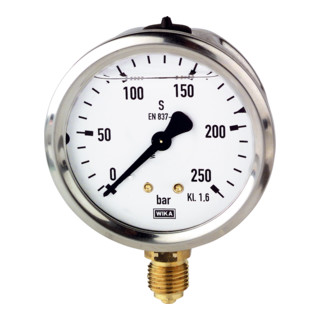 RIEGLER Glyzerinmanometer CrNi-Stahl G 1/4 unten 0 - 16,0 bar Durchmesser 63 mm