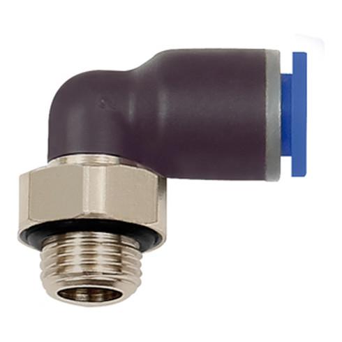 RIEGLER L-Steckverschraubung Blaue Serie drehbar M5 Außendurchmesser 4mm