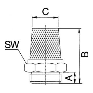 RIEGLER Schalldämpfer aus Sinterbronce value line Schlitz G 1/4