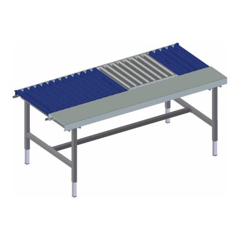 Rocholz Rollenbahntisch mit Arbeitsfläche und Waage SYSTEM 2000 1955x920x710-960 mm Kurbelverstellung