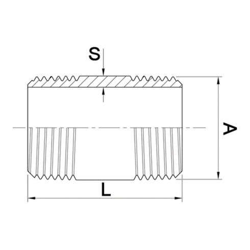 Rohrdoppelnippel EN 10226-1 NPS 1 1/2 Zoll 150mm SPRINGER