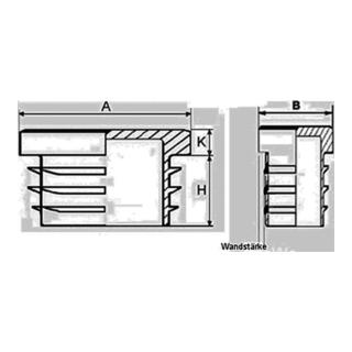 Rohrstopfen für Rechteckrohr Länge 140mm Breite 40mm PE schwarz mit Lamellen
