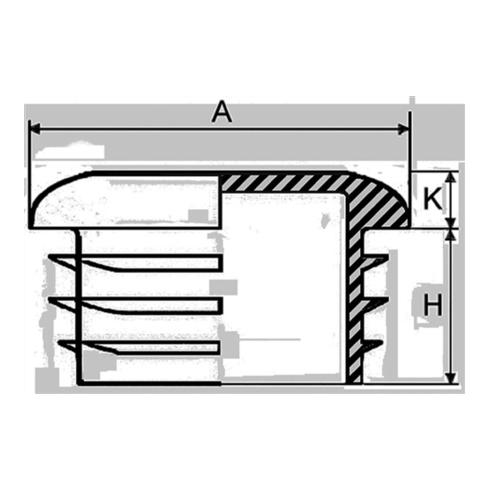 Rohrstopfen für Rundohr für Rohraußen-D.48/3mm PE schwarz mit Lamellen