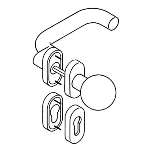 Rosetten-Drückergrt.114.23gkR/123.23R/315.23R/316R PZ TS48,1-58mm rapsgelb WE