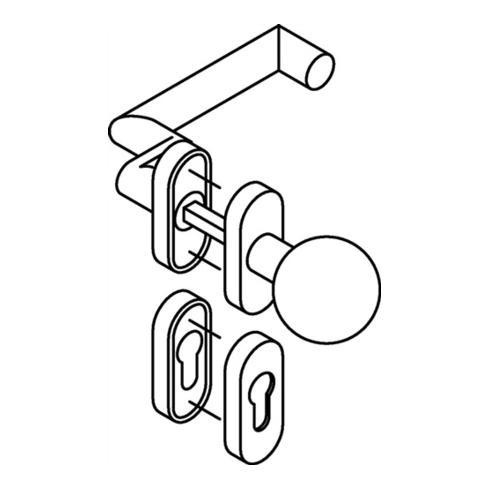 Rosetten-Drückergrt.166.21ABH/109AB/315/316ABH PZ VK8 TS38,1-48mm Alu.matt