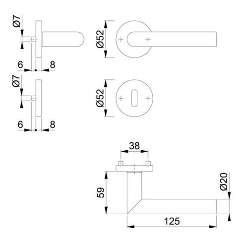 Rosettengrt.Ams.E1400Z/42KV/42KVS VA F96-1-R rd.OB DIN L/R D/D HOPPE
