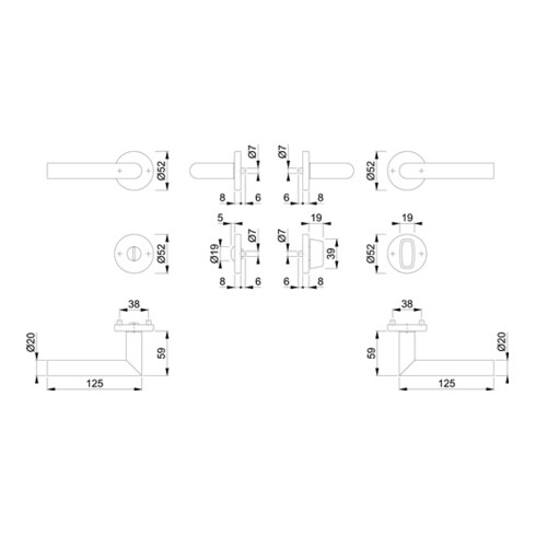 Rosettengrt.Ams.E1400Z/42KV/42KVS VA F96-1-R rd.SK/OL DIN L/R D/D HOPPE