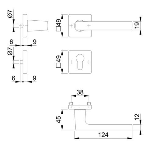 Rosettengrt.Dallas M1643/843KV/843KVS MS F96-1-R quad.PZ DIN L/R D/D HOPPE