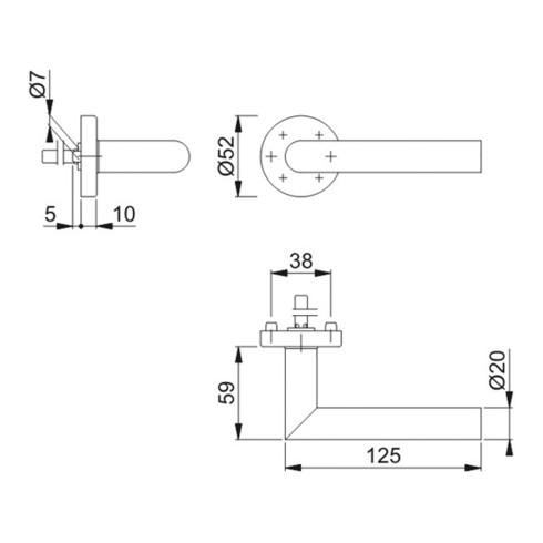 Rosettenhalbgarnitur Ams.E1400Z/42H VA F69 4-KT.10mm HOPPE