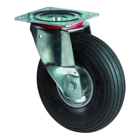 Roue gonflable D.roue 260 mm cap.charge 130 kg roulette pivotante avec plaque à