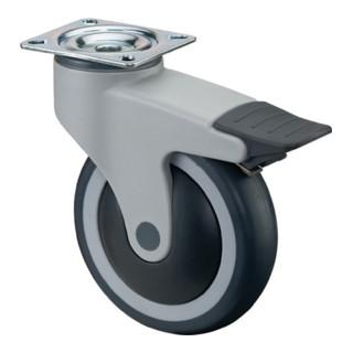 Rouleau en plastique avec blocage D.roue 100 mm cap.charge 100 kg avec plaque à