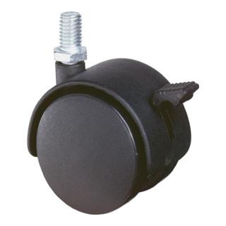 Roulette double en plastique ac blocage D.roue 40 mm cap.charge 30 kg avec goujo